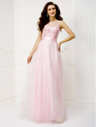 TS Couture Formal Evening Dress - See Through A-line Jewel Floor-length Tulle with Flower(s) Lace Sash / Ribbon Sequins
