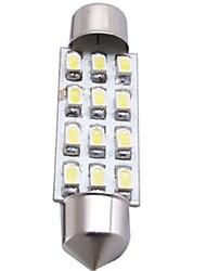 voiture dôme blanc 12 SMD LED voiture intérieur 41mm de lumière de l'ampoule (2 pcs)