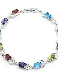 elegant regenboog kleurrijke aaa zirkoon geplatineerd titanium stalen armband voor vrouwen gift, mooie sieraden