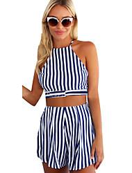Women's Striped Blue Set,Halter Sleeveless