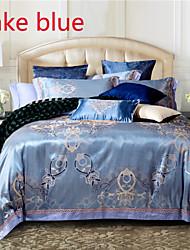 Floral Silk/Cotton Blend 4 Piece Duvet Cover Sets