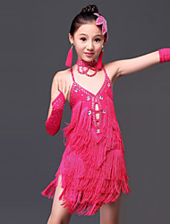 Latin Dance Dresses Children's Performance Milk Fiber Tassel(s) 6 Pieces Dress Gloves Neckwear Headpieces Shorts