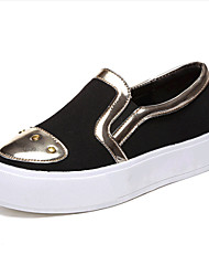 Women's Spring / Fall Creepers Leatherette Outdoor / Casual Platform Beading Black / White