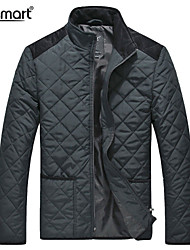 Lesmart Men's Formal Business Lightweight Lattice Cotton Padded Quilted Jacket Solid Patchwork Warm Outwear