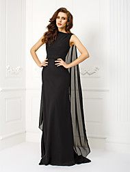 TS Couture Formal Evening Dress - Elegant Sheath / Column Bateau Watteau Train Chiffon with Beading Sash / Ribbon