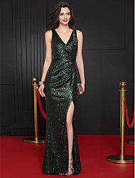 Mermaid / Trumpet V-neck Sweep / Brush Train Sequined Prom Formal Evening Dress with Sequins by TS Couture®