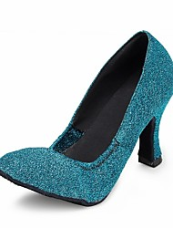 Customizable Women's Dance Shoes Latin / Modern / Salsa / Samba Sparkling Glitter Customized Heel Blue