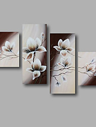 "Ready to Hang Stretched Hand-painted Oil Painting 56""x40"" Canvas Wall Art Modern Flowers White Brown"