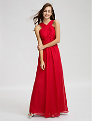 Lanting Bride® Floor-length Chiffon Bridesmaid Dress - Sheath / Column V-neck with Draping / Criss Cross / Ruching