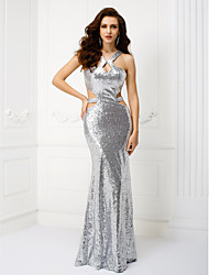 TS Couture Formal Evening Dress - Beautiful Back Sheath / Column Straps Floor-length Sequined with Pleats Sequins