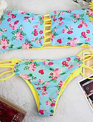 Bikinis Aux femmes Fleur / Bohème Sans Armature / Soutien-gorge Rembourré Bandeau Polyester