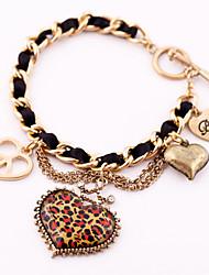 Homens Feminino Casal Pulseiras Amizade Pulseiras Vintage Strass Liga Moda Formato de Coração Bronze Jóias 1peça