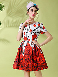 Women Fashion Slim Vintage Romantic Rose Flowers Print Pleat Short Sleeve Plus Size Dress