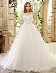 Princess Wedding Dress Chapel Train Scoop Tulle with Beading