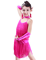 Latin Dance Outfits Children's Performance Spandex Tassel(s) 5 Pieces Top Skirt Gloves Neckwear