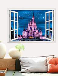 3D Wall Stickers Wall Decals Style New Castle Waterproof Removable PVC Wall Stickers
