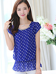 Women's Casual/Daily Cute Summer Blouse,Polka Dot Round Neck Short Sleeve Blue / Red / White Polyester Medium