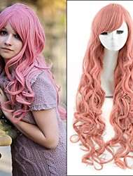 Hot Selling ! European Long Wave Wigs Pink Color Synthetic Wigs