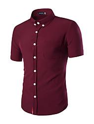 Men's Short Sleeve Shirt,Cotton Work / Formal Pure