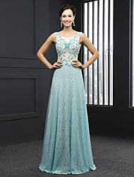 Formal Evening Dress Sheath/Column Jewel Sweep/Brush Train Lace