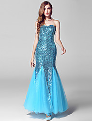 Formal Evening Dress - Sparkle & Shine Trumpet / Mermaid Sweetheart Ankle-length Tulle Sequined with Sequins
