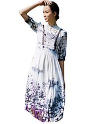 Mulheres Vestido Bainha Moda de Rua Estampado Médio Colarinho Chinês Poliéster