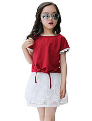 Girl's Casual/Daily Clothing Set,Cotton / Polyester Summer Red