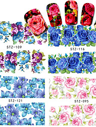 4sheets 2016 New Elegant Women Decoration Flower Nail Art Water Sticker Full Wraps Nail Tools