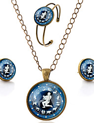 Lureme® Time Gem The Zodiac Series Simple Vintage Style Capricorn Pendant Necklace Stud Earrings Bangle Jewelry Sets