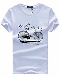 Masculino Camiseta Algodão Estampado / Letra Manga Curta Casual / Tamanhos Grandes-Preto / Branco / Cinza
