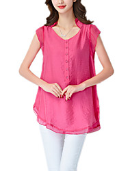 Summer Stylish Plus Size Women's Round Neck Decorative Buttons Luxury Embroidery OL Casual Holiday Blouse T Shirt