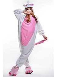 Kigurumi Pyjamas New Cosplay® Unicorn Trikot/Heldragtskostumer Festival/Højtider Nattøj Med Dyr Halloween Lyserød Patchwork Polarfleece