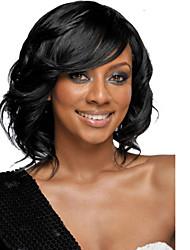 más vendido en Europa y los Estados Unidos negro cabello natural pelucas sintéticas rizadas