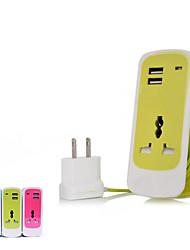 портативный 3-в-1 путешествия разъем питания с двойным USB / 1 х розетки переменного тока (США штекер)