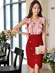 Women's Solid Red Skirts,Work Knee-length