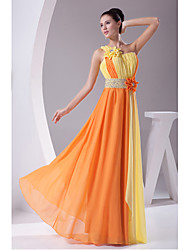 Formal Evening Dress Sheath / Column One Shoulder Floor-length Chiffon with Draping / Flower(s)