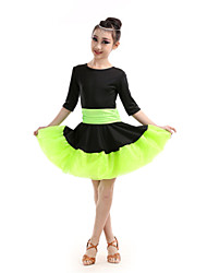 Shall We Latin Dance Children Performance Polyester Color Block Dresses Dance Costumes