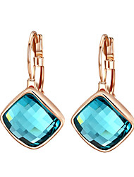 HKTC Dazzling Cz Jewelry 18k Rose Gold Plated Blue Austria Crystal Rhombus Shape Drop Earrings