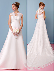 Lanting Bride® A-line Wedding Dress Chapel Train Sweetheart Lace / Satin with Lace