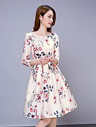 Women's Vintage Print Sheath Dress,Round Neck Knee-length Polyester