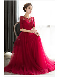 Formal Evening Dress Sheath/Column Jewel Floor-length Tulle