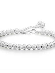 Women's Bracelet Sterling Silver Plated  Sample Frosting Lucky Beads Strands Bracelet Wedding for Bride