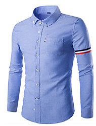 Men's Striped Casual / Sport Shirt,Cotton Long Sleeve Blue / White