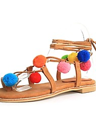 Women's Shoes Leather / Cashmere Flat Heel Pom-pom / Gladiator Sandals Dress / Casual Brown