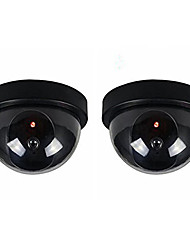 2pcs/Pack Indoor Outdoor CCTV Fake Dummy Dome Security Camera with Flahsing RED LED Light