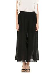 Women's Solid Black / Gray Wide Leg Pants,Street chic