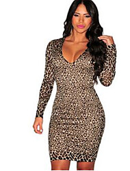 Women's Casual/Daily Simple Bodycon Dress,Leopard V Neck Above Knee Long Sleeve Silver Polyester Spring