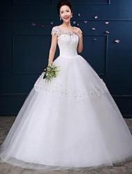 Ball Gown Wedding Dress-White Floor-length Scoop Lace / Tulle
