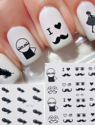 20pcs/lot 3D Moustache Cute Nail Watermark Stickers