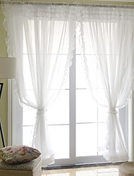 Pure White Two Panels Modern Solid Living Room Polyester Sheer Curtains Shades